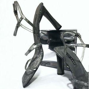 """▪Gabelle Pewter Sequined Nine West 4"""" Heel Sandals"""